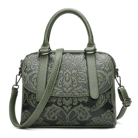 Women Vintage Embossed National Style Flower Print PU Leather Handbag Crossbody Bag