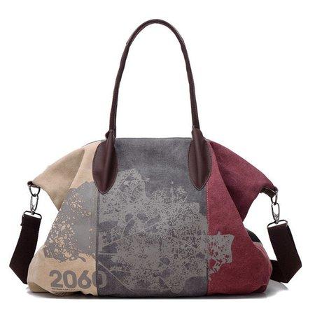 Women Flower Pattern Casual High Capacity Canvas Handbag Bucket Shoulder Bag