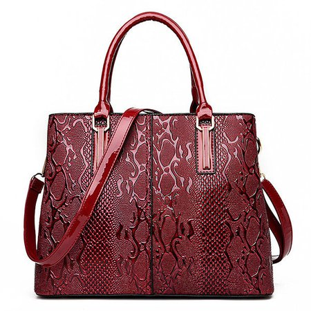 Elegant Embossed Glossy Patent Leather Handbag Crossbody Bag For Women