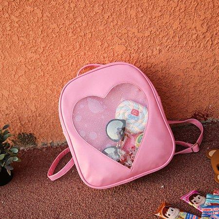 Girls Transparent Heart Shape Pattern Candy Color Nylon Shoulder Backpack
