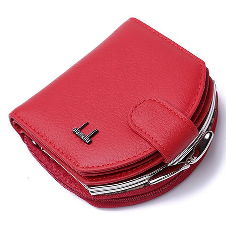 Genuine Leather Coin Bag Shell Shape Multi Card Slots Wallet Purse