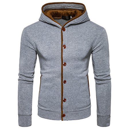 Solid Buttoned Design Single Breasted Casual Hoodie