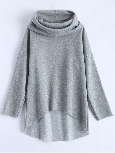 Gray Cowl Neck Simple Sweatshirt