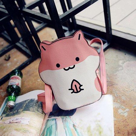 Ladies Lovely Cute Hamster Shape Pattern Zipper Crossbody Bags