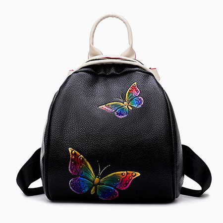 Butterfly Print Casual PU Leather Shoulder Bag Crossbody Bag Cute Backpack
