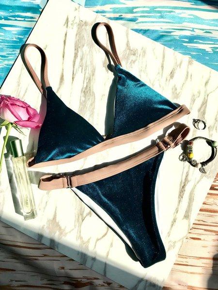 Buckled Solid Straped Velvet Bikini
