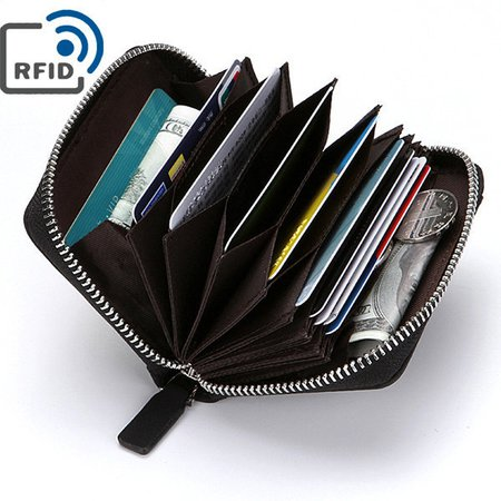 RFID Antimagnetic Pu Faux Leather Wallet 10 Card Holders Coin Bag For Men
