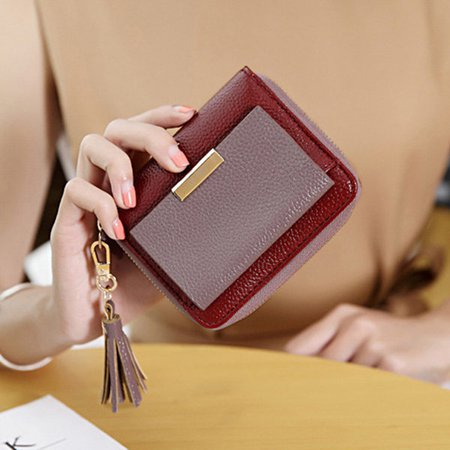 Women Hit Color Tassel Purse Bifold Hasp Coin Short  Wallet