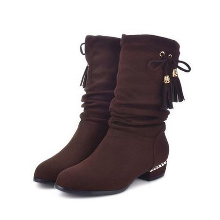Large Size Tassel Low Heel Fur Lining Mid Calf Boots