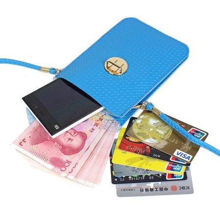 Women Functional Plait Mini PU Leather Phone Purse Crossbody Bag