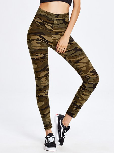 Army Green Camo Printed Leggings