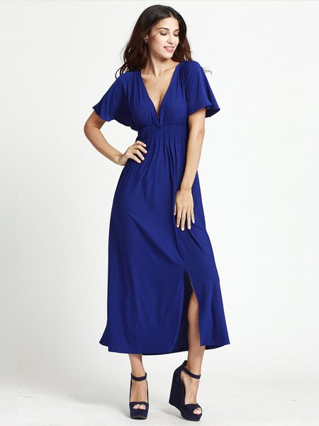 Shirred Slit Front Solid Flutter Sleeve Plunging Neck Dress