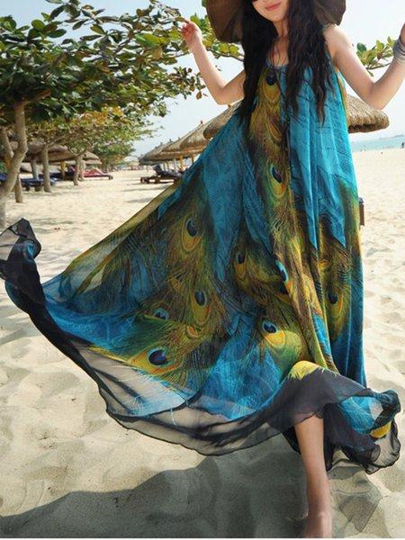 Blue Women Print Dress Crew Neck Swing Beach Sleeveless Holiday Dress