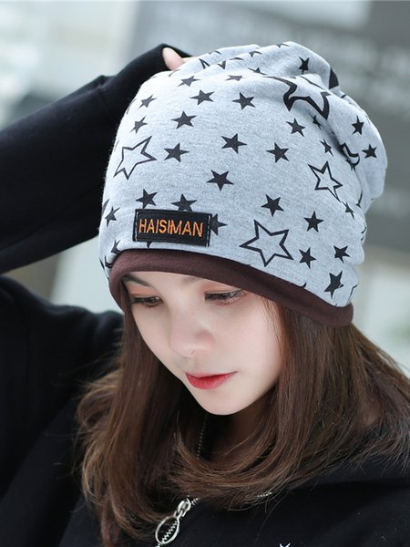 Patch Star Paneled Knit Cap