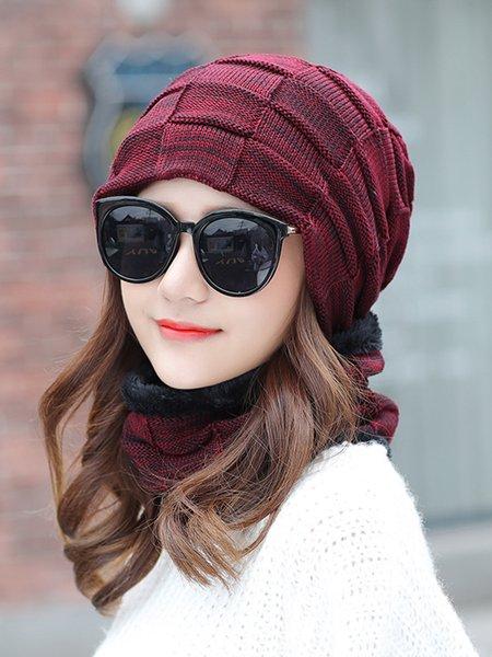 Fleece-lined Plain Knitted Hat