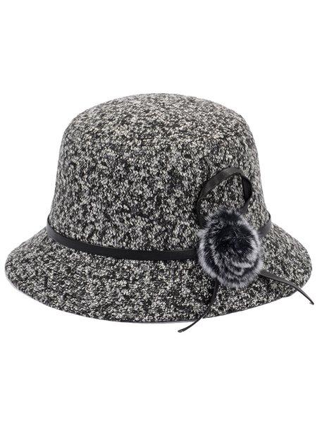 Fuzzy Ball Woven Casual Bucket Hat