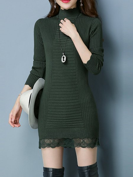 Stand Collar Casual Lace Paneled Knitted Dress
