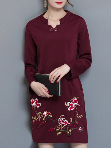 Floral-embroidered Fleece-lined Casual H-line  Dress