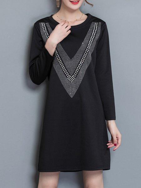 Embellished Fleece-lined Long Sleeve  Dress