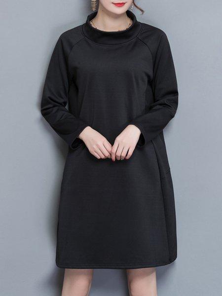 Long Sleeve Solid Fleece-lined Stand Collar  Dress