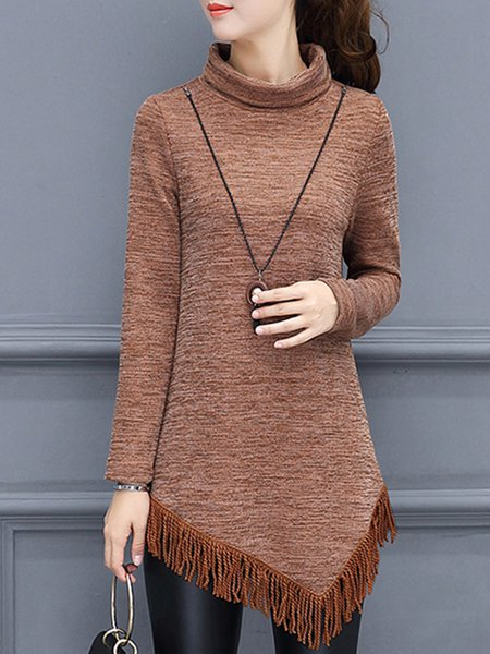 Long Sleeve Asymmetrical Knitted Turtle Neck Sweater