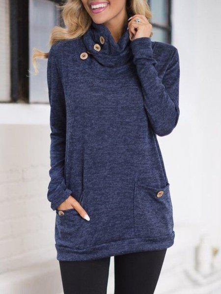 Sheath Pockets Cowl Neck Long Sleeve Buttoned Sweatshirt