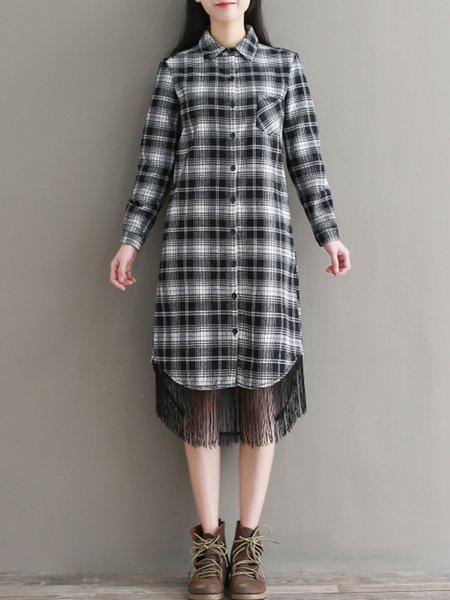 Long Sleeve Fringed Plaid H-line Casual Dress
