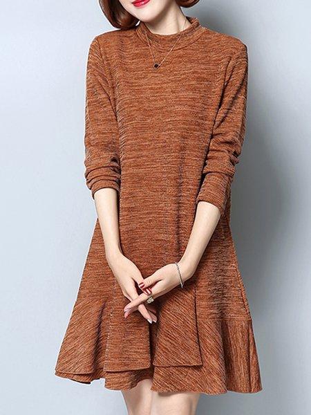 Long Sleeve Casual Flounce Plain Knitted  Dress
