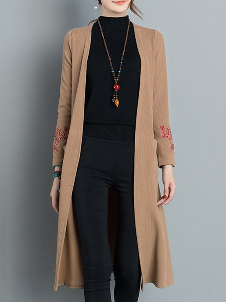 H-line Casual Floral-embroidered Cardigan