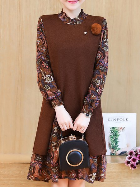 Long Sleeve Floral Casual Printed Paneled Dress