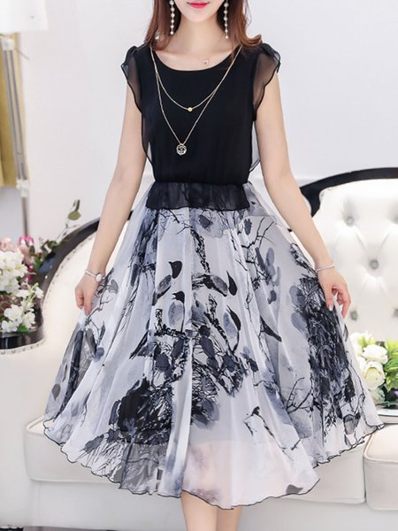 Black Printed A-line Chiffon Casual Dress with Necklace