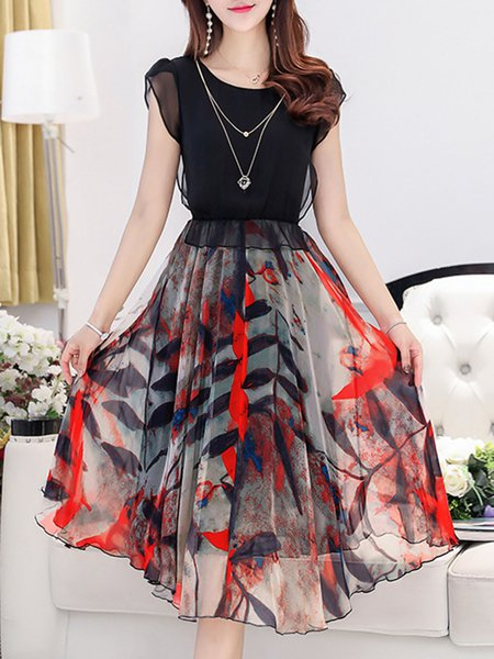 Black Printed Short Sleeve Chiffon Casual Dress with Necklace