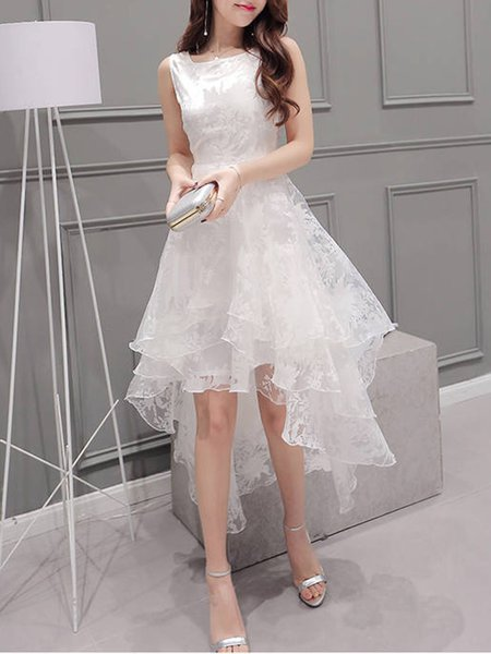 High Low Organza Elegant Tiered Sleeveless Party Dress