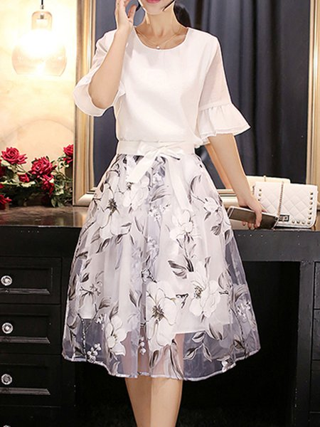 White Women Elegant Dress Crew Neck Two Piece Going out Bell Sleeve Floral Dress