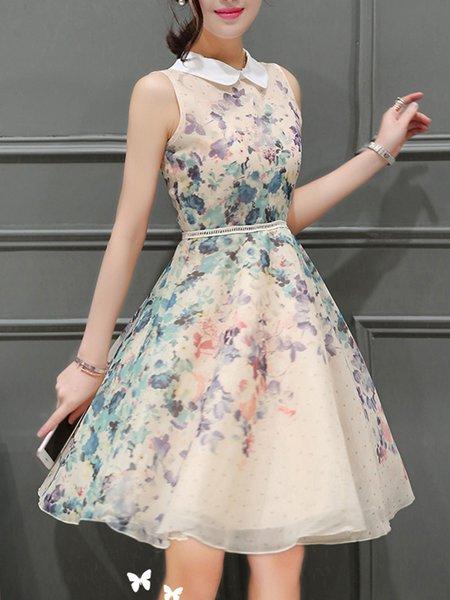 Apricot Peter Pan Collar Organza Sleeveless Dress