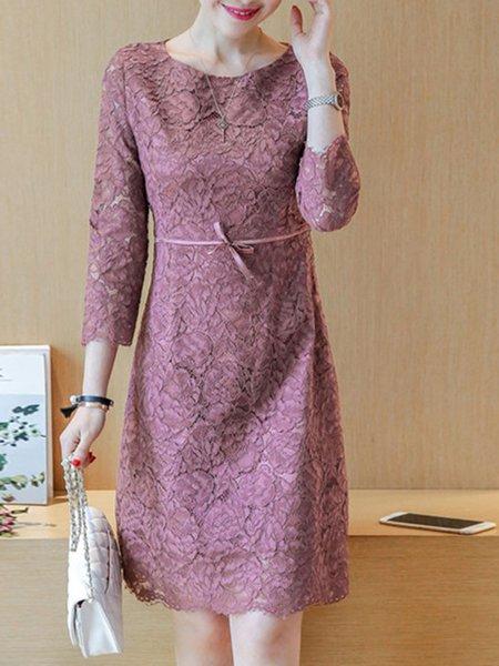 Floral Bow Guipure 3/4 Sleeve Elegant Dress