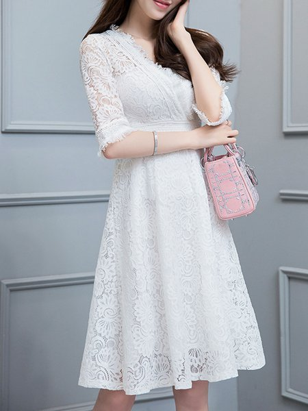 White Surplice Neck Guipure 3/4 Sleeve Elegant Dress