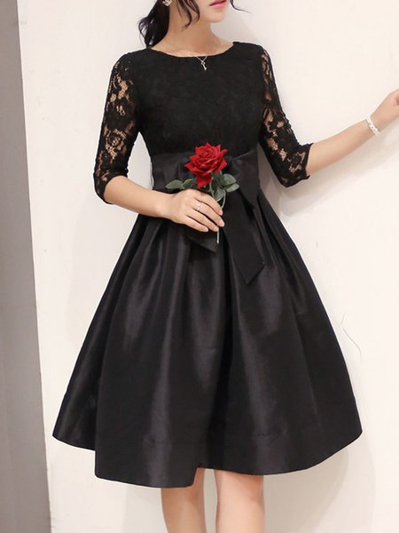 Women Prom Dress A-line Party 3/4 Sleeve Lace Dress