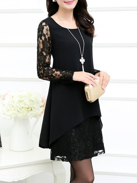 Black A-line Guipure Lace Floral Elegant Dress