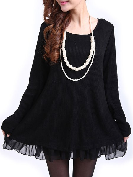 Black Flounce Solid Long Sleeve Knitted Slit Casual Dress