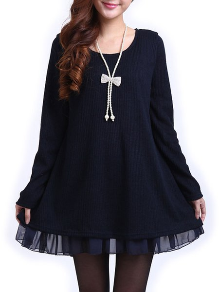 Women Elegant Dress Crew Neck Flounce Going out Long Sleeve Elegant Dress