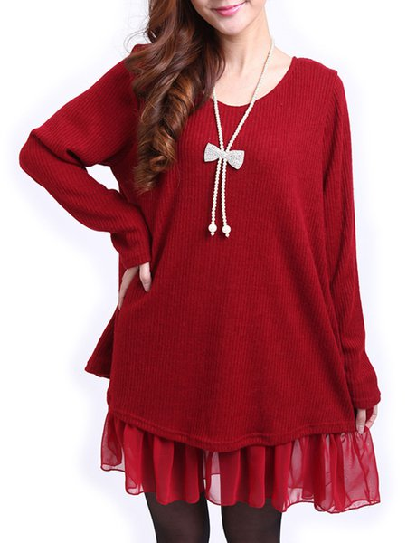 Burgundy Slit Knitted Solid Long Sleeve Flounce Casual Dress