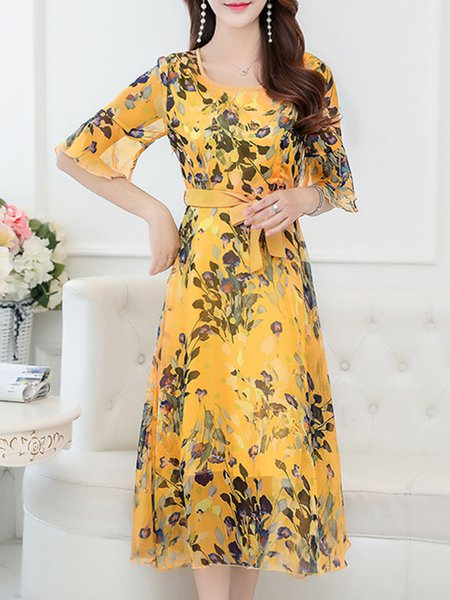 Yellow Floral Chiffon Bell Sleeve Print Dress with Belt