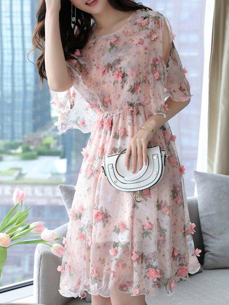 3/4 Sleeve Appliqued Elegant A-line Floral Print Dress