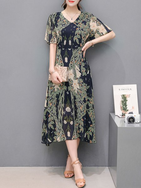Multicolor Women Print Dress V neck A-line Daily Chiffon Floral Dress