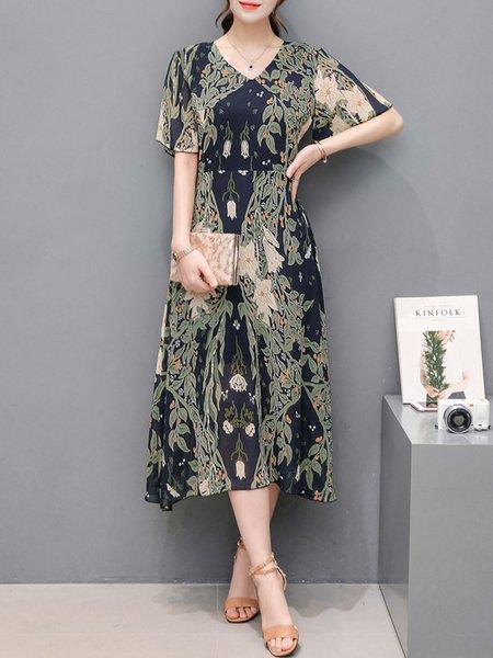 Multicolor Short Sleeve Printed Floral Print Dress
