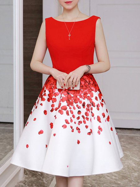 Red Women Prom Dress Crew Neck Going out Elegant Printed Dress