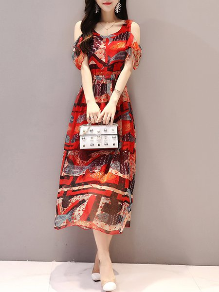Red Frill Sleeve A-line Cold Shoulder Print Dress