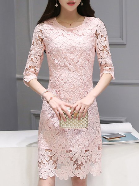 Pink Guipure Floral Half Sleeve Crew Neck Party Dress
