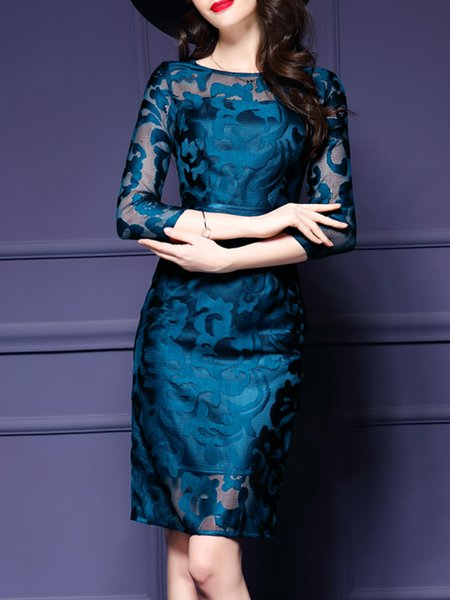 Blue 3/4 Sleeve Sheath Crew Neck Floral Elegant Dress